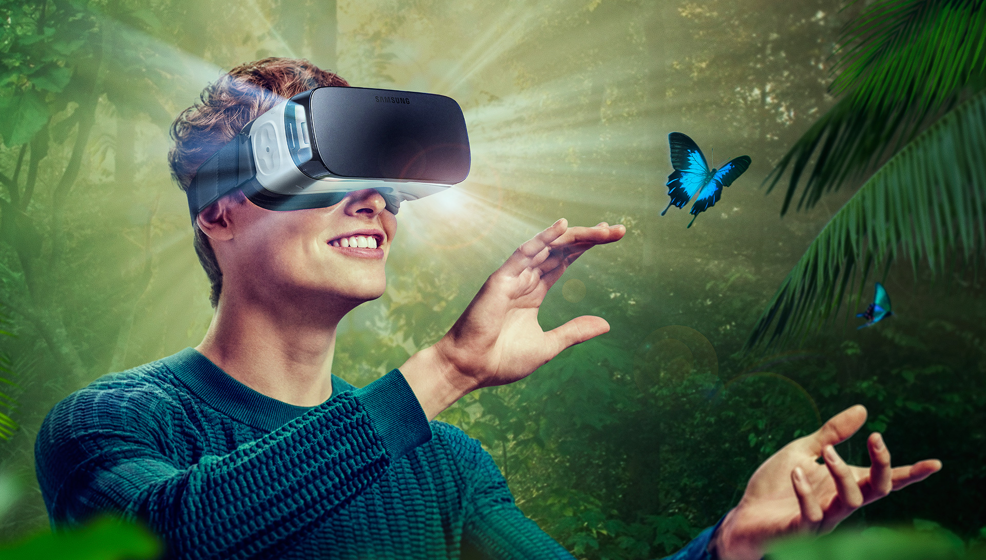 A man in a VR headset stares in wonder at a butterfly