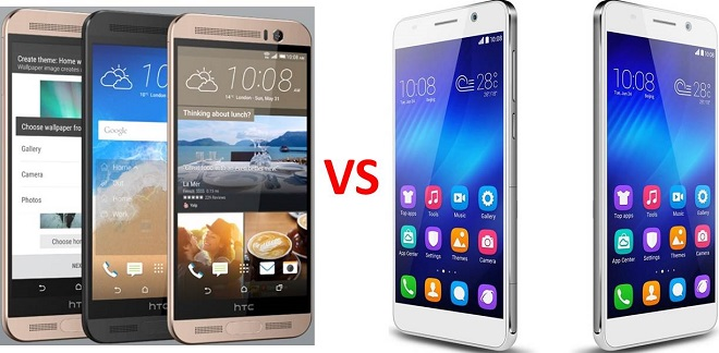 HTC One ME vs Huawei Honor 7 photo